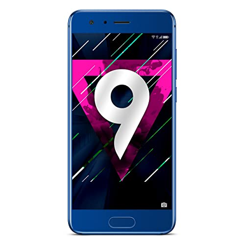 """Honor 9-4GB+64GB Dual Sim, Dual Camera 20+12MP, Fast Charge, 5.15"""" SIM-Free Smartphone – UK Official Device - Blue"""