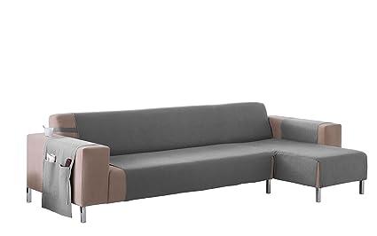 Martina Home Cubre sofá Chaise longue modelo Betta - Tela - Brazo derecho - color Gris - medida 240 cm ancho.