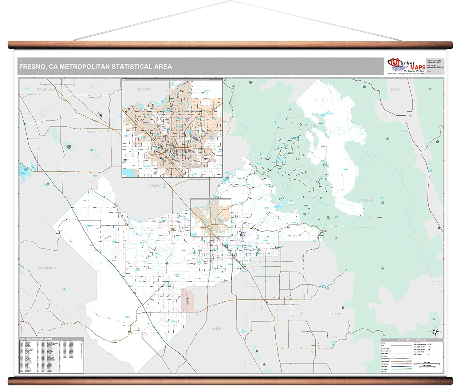 Amazon.com: MarketMAPS Fresno, CA Metro Area Wall Map - 2018 ...