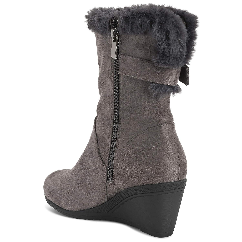 Viva Shoes Womens Adjustable Fleece Lined Wide Calf Mid Calf Boots Low Wedge Heel