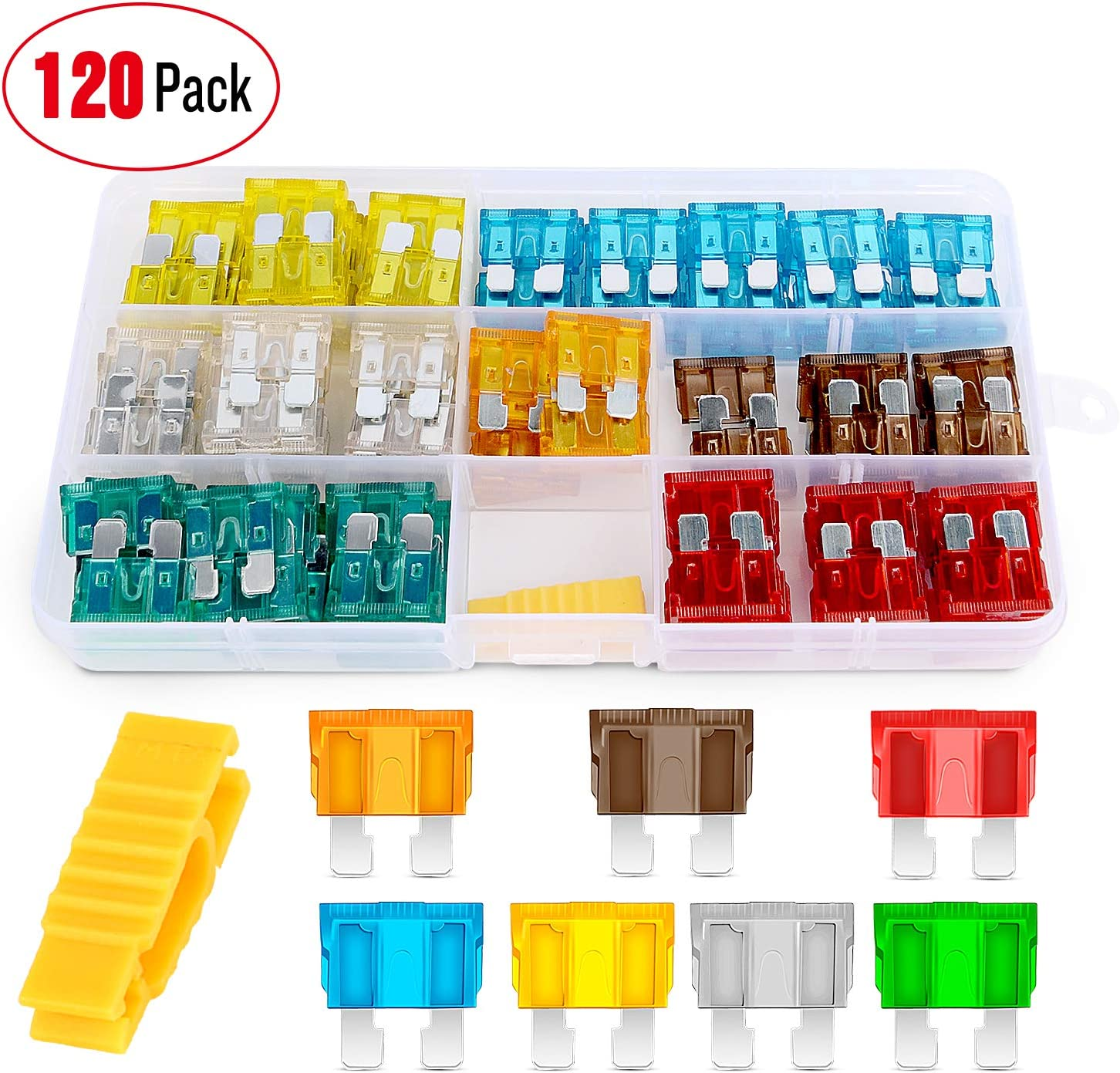 Nilight 120 pcs Standard Fuse Assortment kit – 5, 7.5, 10, 15, 20, 25, 30 AMP – Regular APR/ATO (Open)/ATC Blade Fuses for Cars, Trucks, Boats,Automotives,2 Years Warranty