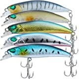 Discover Fish Fishing Lures Bass Trout Muskie Minnow Topwater LifeLike Artificial Hard Plastic Swimbaits Set Mens Pro Fish Lure Baits with Treble Hooks for Freshwater Saltwater