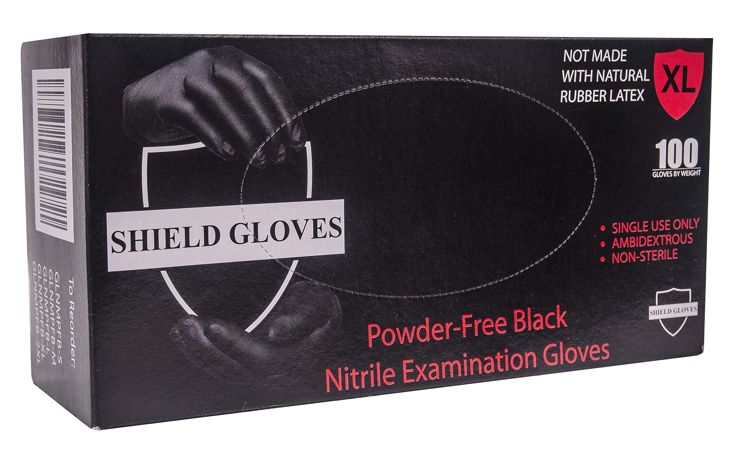 100 Pack Black Barrier Nitrile Examination Gloves. X-Large Chemical Resistant Powder Free Gloves. Disposable Finger Textured Latex Free Gloves for Medical use. Packaging in bulk, wholesale price.