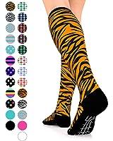 Go2 Compression Socks Fashion Line 15-20 mmHg - Athletic Socks for Nurse Life - Womens Socks for Running Gym Yoga Cycling Travel Maternity - Train w/ Happy Feet - Colorful Unique Gifts for Teen Girls