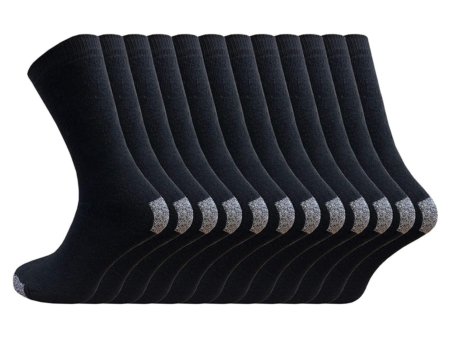 12 pairs Mens Hard Wearing Work Socks - Reinforced Heel and Toe - Safety Boot Socks - Excellent Quality - Warmth and All Day Comfort