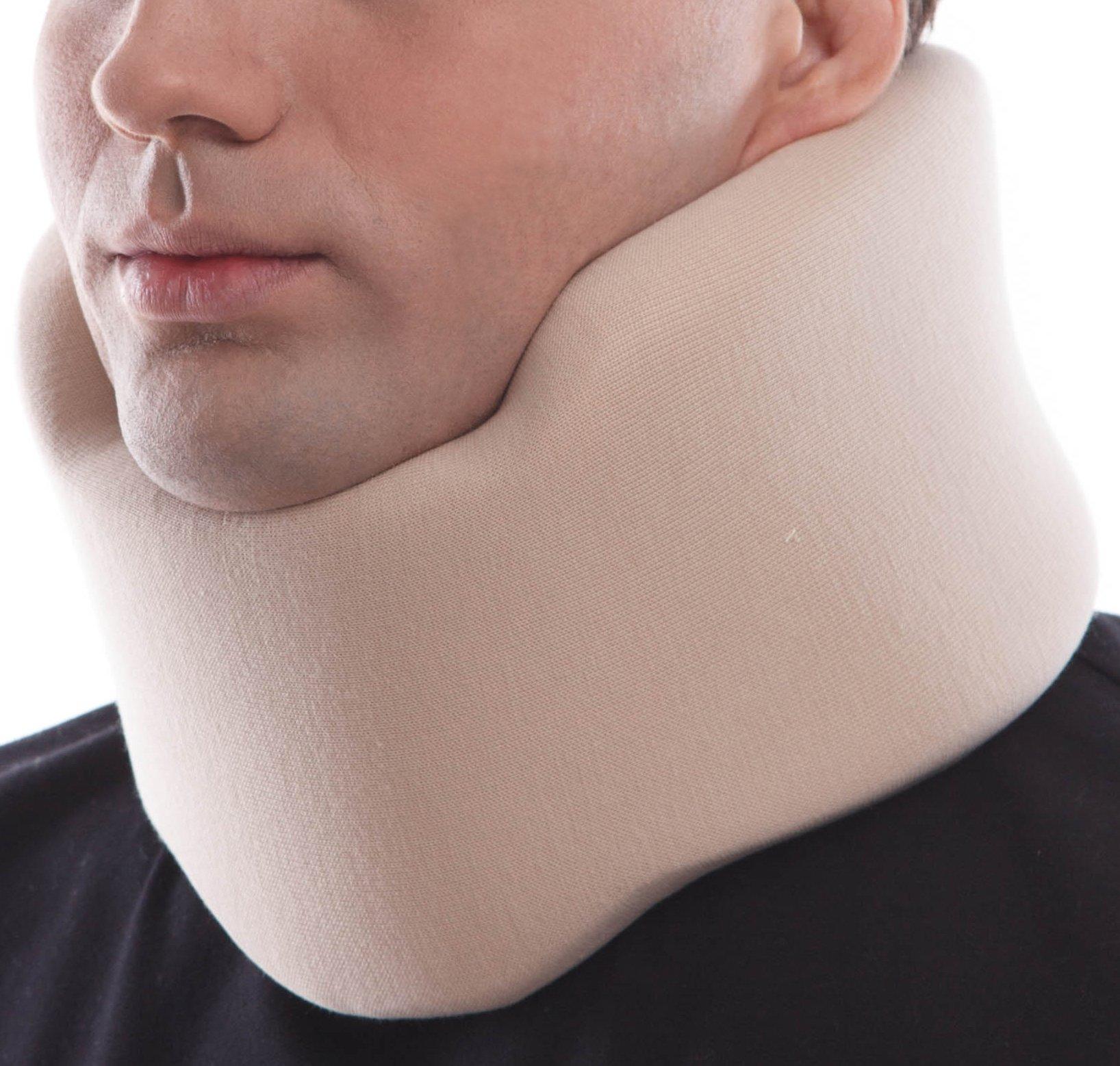TOROS-GROUP Ergonomic Cervical Collar/Neck Support Brace / 100% - Cotton Liner - Neck 4½'' Beige