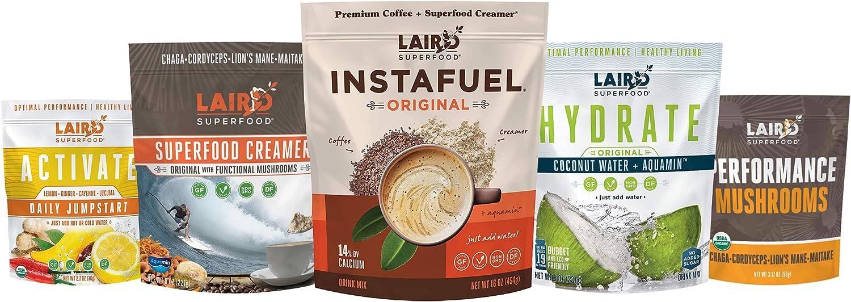 Laird Superfood Ultimate Sampler Pack Bundle- Performance Mushrooms, Activate, Instafuel Original, Hydrate Original, and Original Creamer with Mushrooms