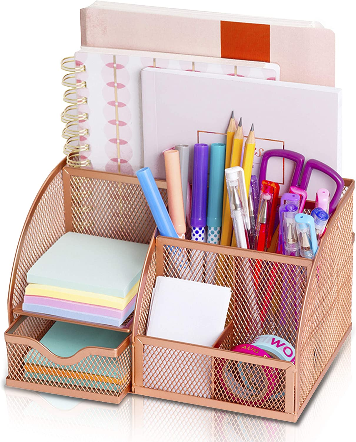 Desk Organizer All4You. Cute and Decorative Desk Accessory for Women. Multi-Functional Mesh Desktop, File Organizer and Pen Holder. Office Organizer for Home Office Supplies (Rose Gold)