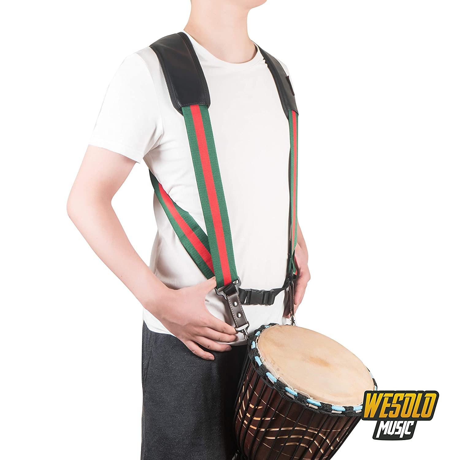WESOLO Hand Drum Shoulder Strap Djembe Harness Percussion Instrument Belt,Green/&red