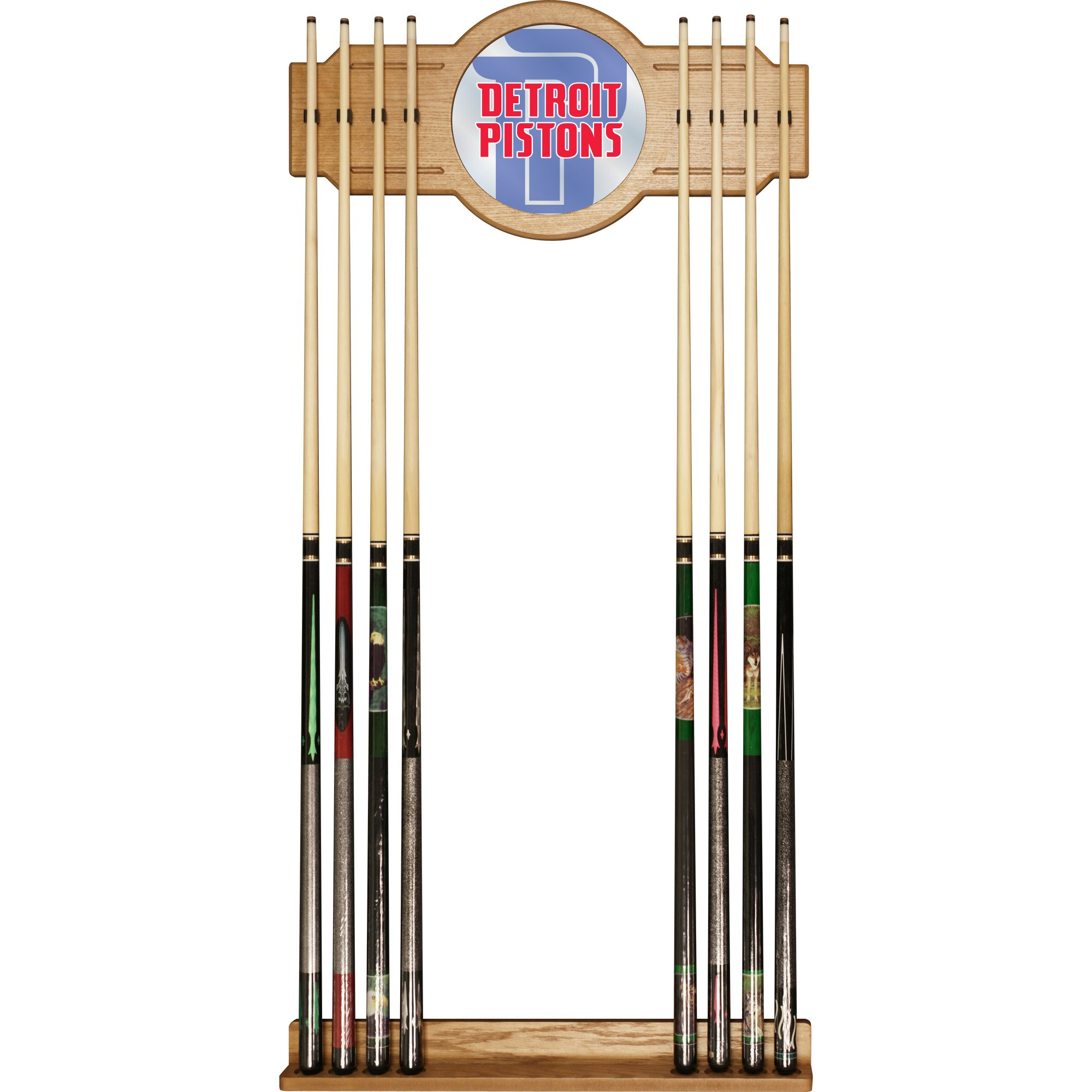 Trademark Gameroom NBA6000-DP2 NBA Cue Rack with Mirror - Fade - Detroit Pistons
