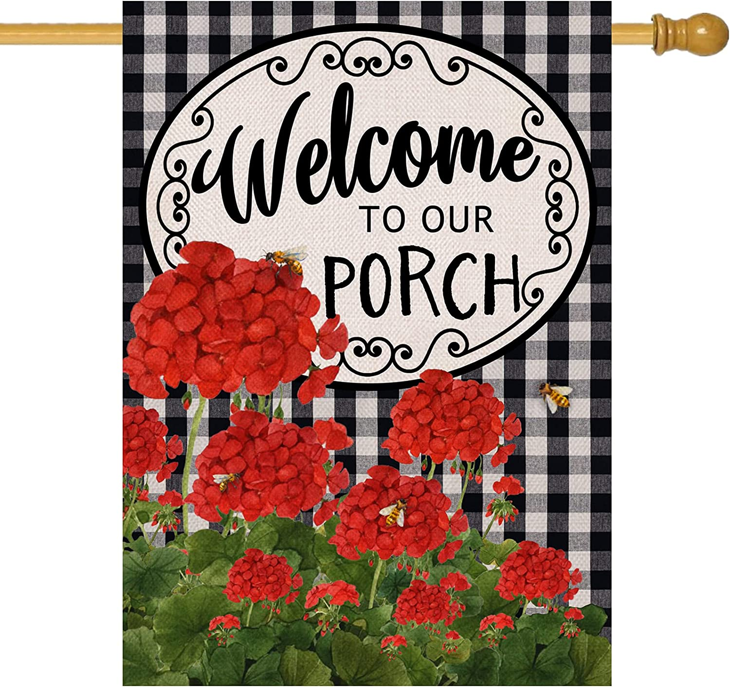 Covido Home Decorative Welcome to Our Porch Summer Fall House Flag, Buffalo Plaid Check Garden Yard Geranium Flower Outside Decoration, Autumn Farmhouse Outdoor Large Spring Decor Double Sided 28 x 40
