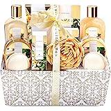 Spa Luxetique Vanilla Spa Gift Basket, 12pc Cloth Box Spa Kit, Home Spa Set for Women-Massage oil, Bath Bombs & Salts, Shower