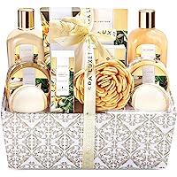 Spa Luxetique Vanilla Spa Gift Basket, 12pc Cloth Box Spa Kit, Home Spa Set for Women-Massage oil, Bath Bombs & Salts…