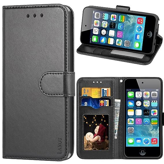 LANOU Touch Hülle, iPod Touch 5 Hülle, iPod Touch 6 Hülle, Leder Schutzhülle Handyhülle Etui Silikonhülle für Apple iPod Touc