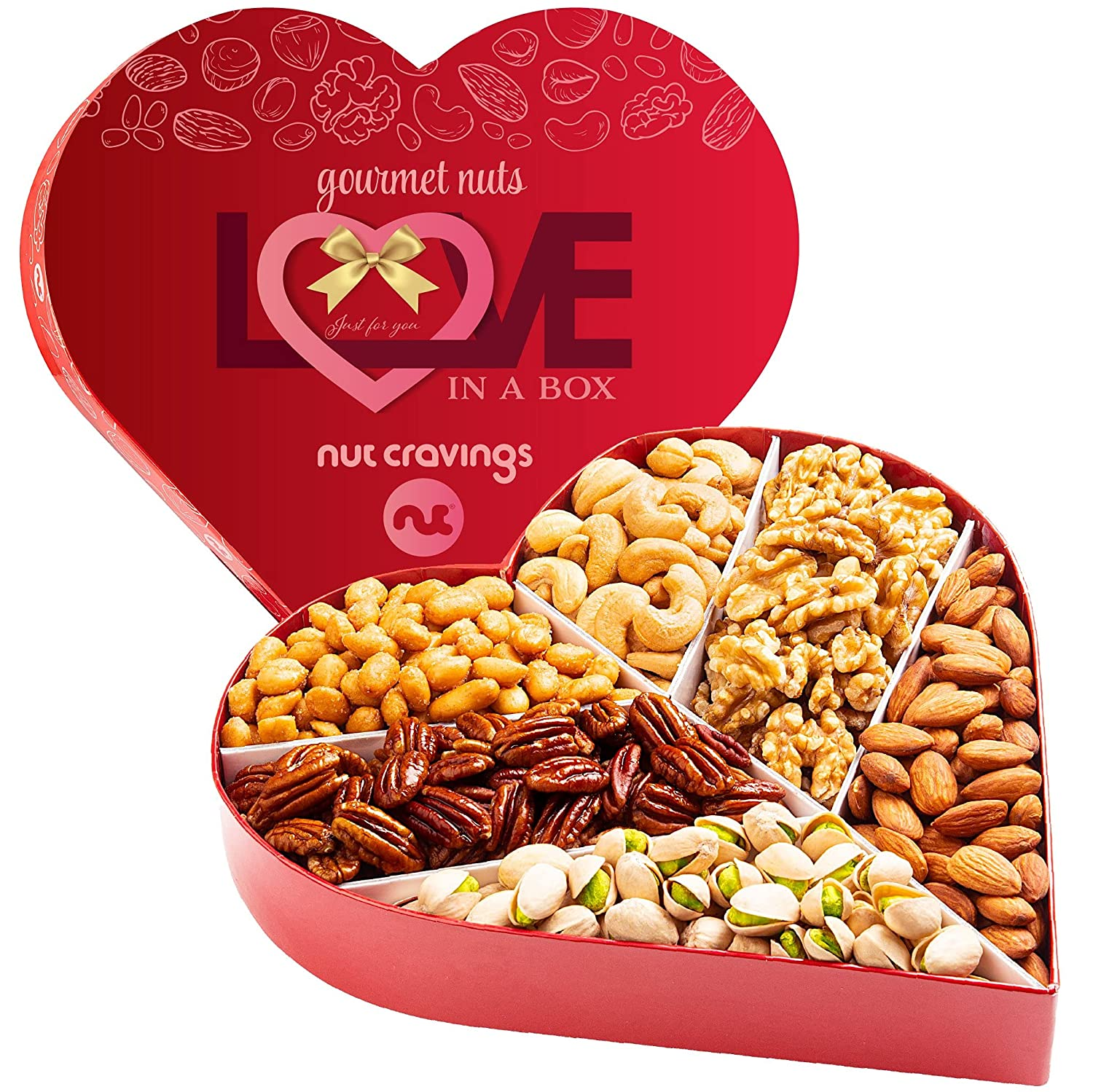 Gourmet Nut Gift Basket in Heart Box (6 Piece Assortment, 1 LB) - Fathers Day Prime Arrangement Platter, Birthday Care Package Variety, Healthy Food Kosher Snack Tray for Mom, Women, Men, Adults