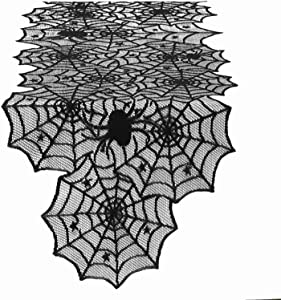 Vlovelife Black Spider Web Table Runner, 18 by 72 Inch Halloween Table Runners, Polyester Lace Table Runner for Halloween Party Favors Dinner Table Decor
