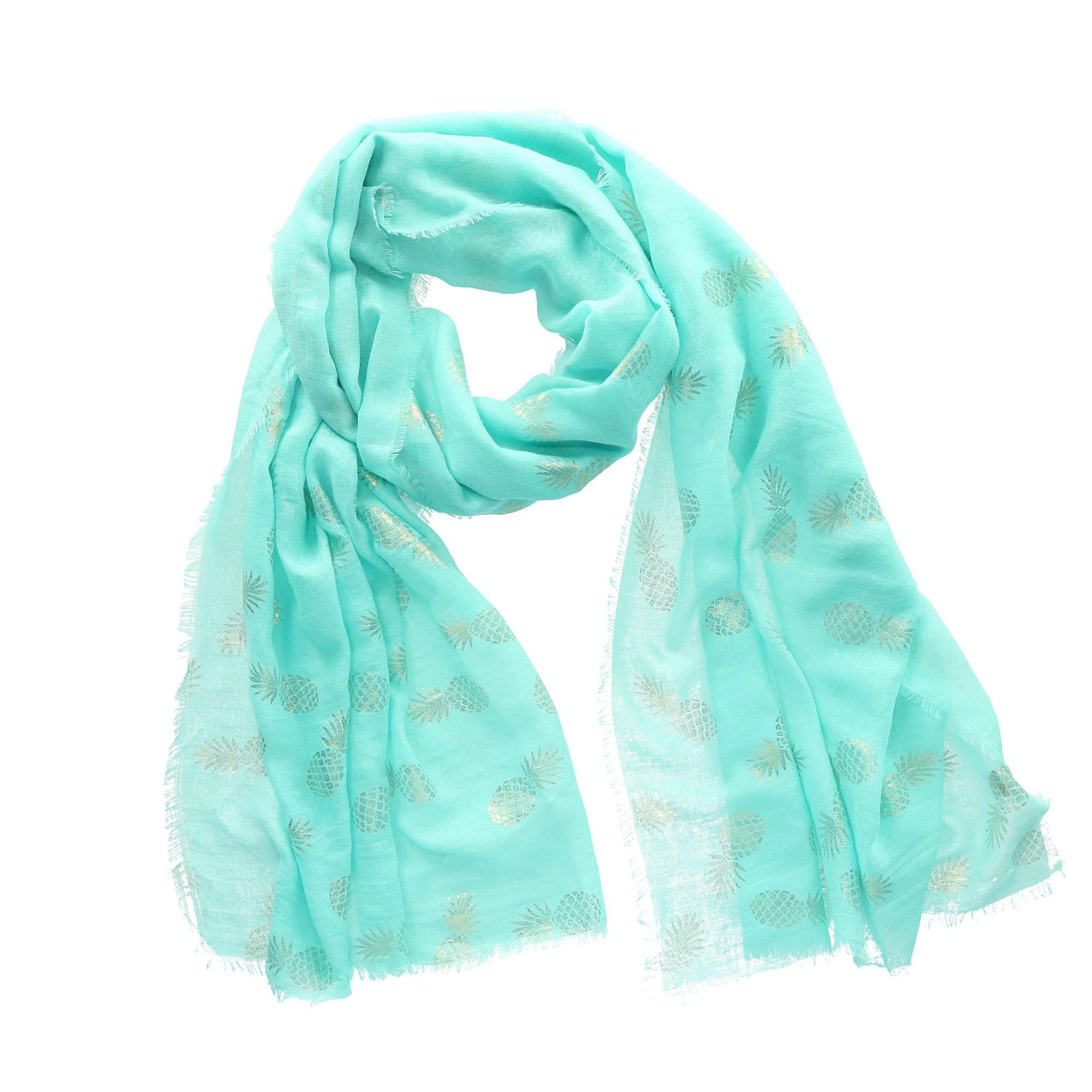 CTM Women's Foil Pineapple Print Scarf, Mint