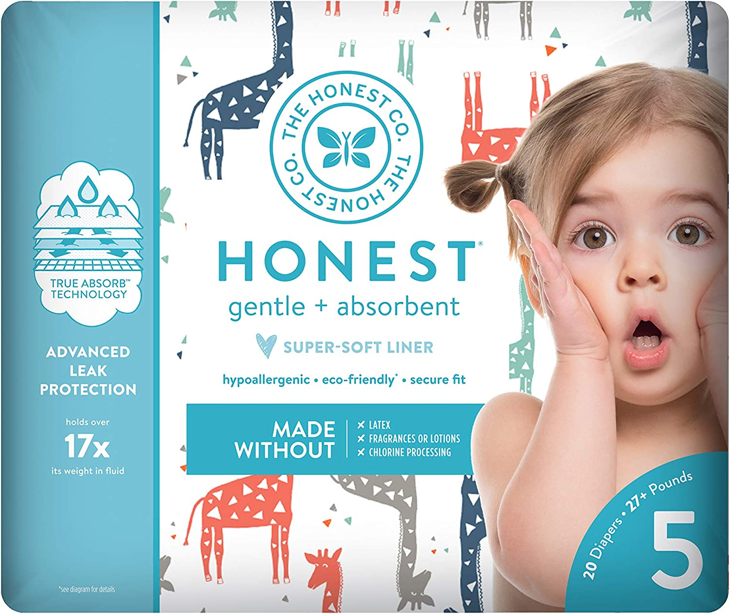 Multi-colored Giraffes The Honest Company Diapers Size 5 23 count
