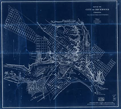 Amazoncom Vintography 18 X 24 Blueprint Style Reproduced Old Map - Richmond-virginia-on-us-map