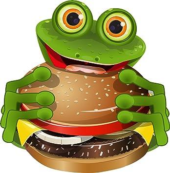 Michael Rene Pflüger Barmstedt Premium Aufkleber 8x8 Cm Frosch Mit Cheeseburger Fastfood Imbiss Frog Kröte Sticker Auto Motorrad Bike Autoaufkleber Auto