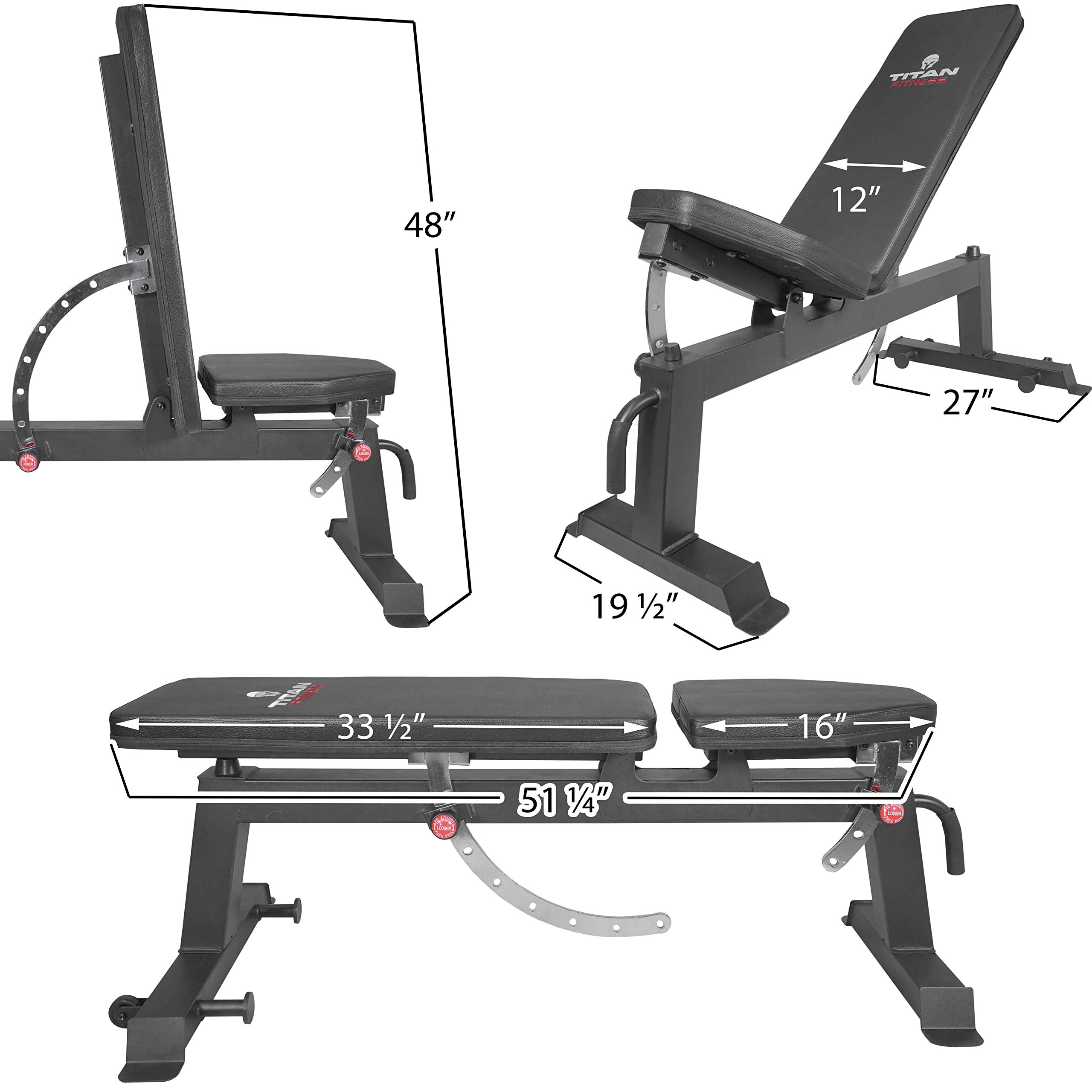 Titan Fitness Adjustable Flat Incline Weight Bench 650 lb Rated Capacity by Titan Fitness (Image #2)