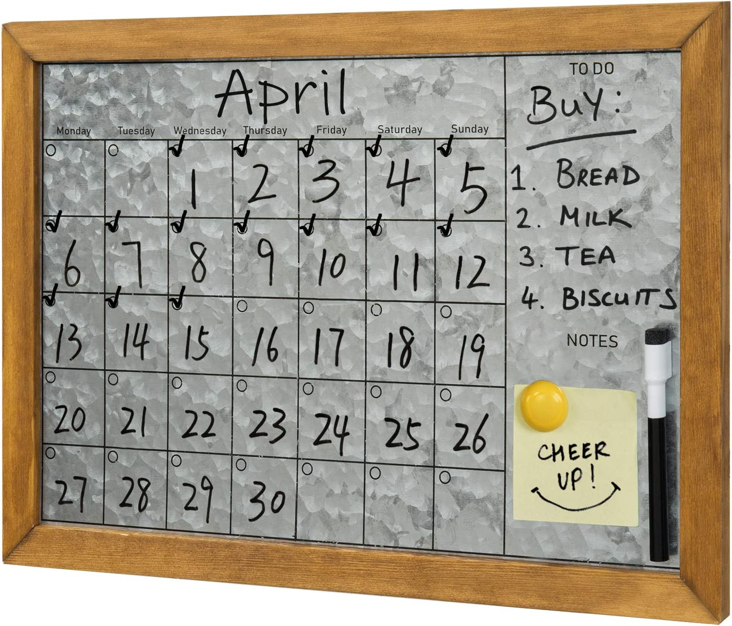 MyGift Wall Mounted Rustic Galvanized Silver Metal Dry Erase Memo Board Calendar with Brown Wooden Frame
