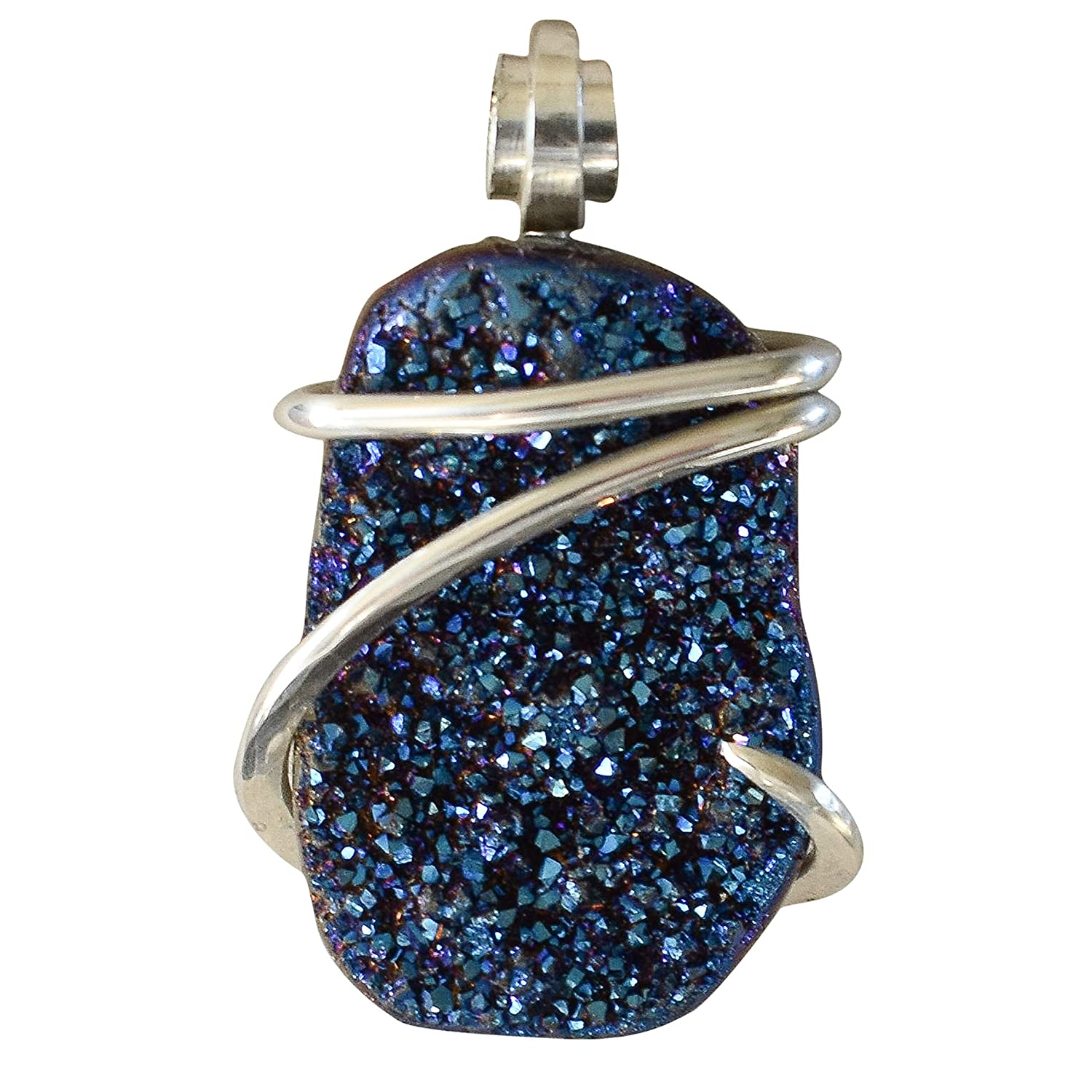 Druzy Crystal Blue Hand Wrapped Stone Pendant by Isabella Roth