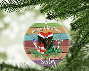 """""""N/A"""" 3"""" Personalized Christmas Ornament Custom Name Ornament Sister Family Xmas Ornament Christmas Tree Decor Signs for Home Ceramic Christmas Tree Ornaments"""