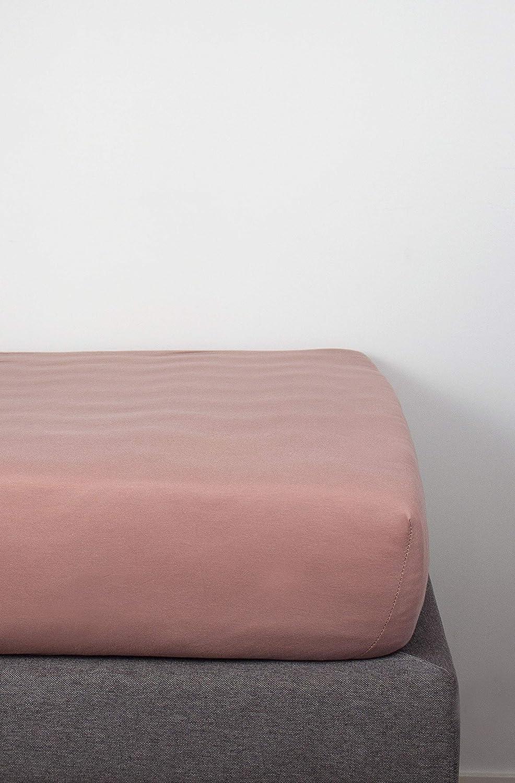 Bettwaren & Bettwäsche Erwachsene 160 x 200 cm Puderrosa JustinBed Spannbetttuch aus Bio-Baumwolle