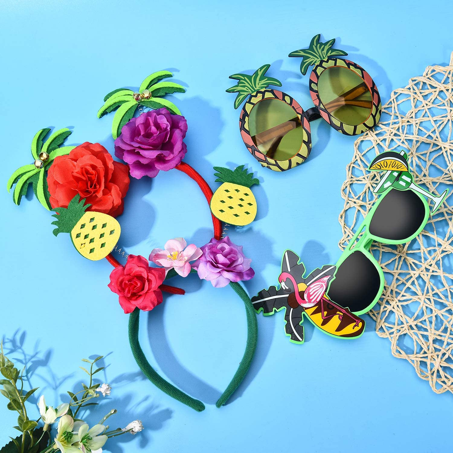 4 Pieces Hawaiian Party Sunglasses and Headbands Set Includes Tropical Summer Sunglasses Hawaiian Party Headbands with Palm Tree and Pineapple Design