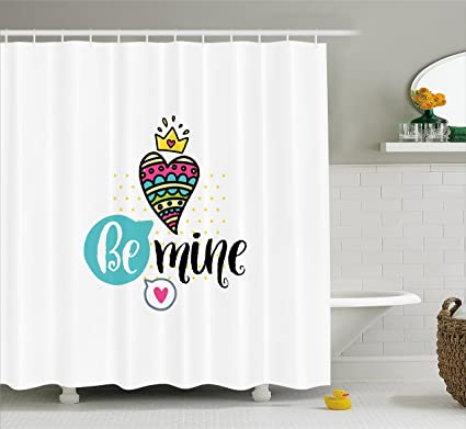 Romantic Shower Curtain By Ambesonne Colorful Patterned Heart Shape With A Crown Creative Typography Phrase