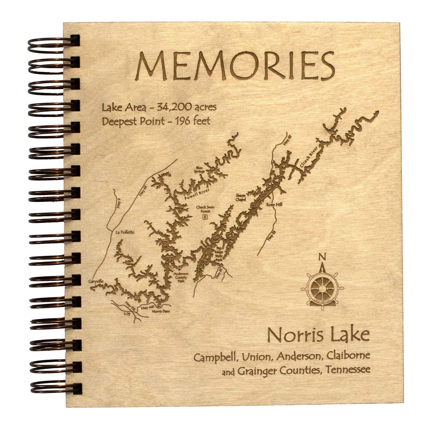 Lake Rabun - Rabun County - GA (Proof Required) - Etched Lake Photo Album 9 x 8 in - Laser Etched Wood Nautical Chart and Topographic Depth map.
