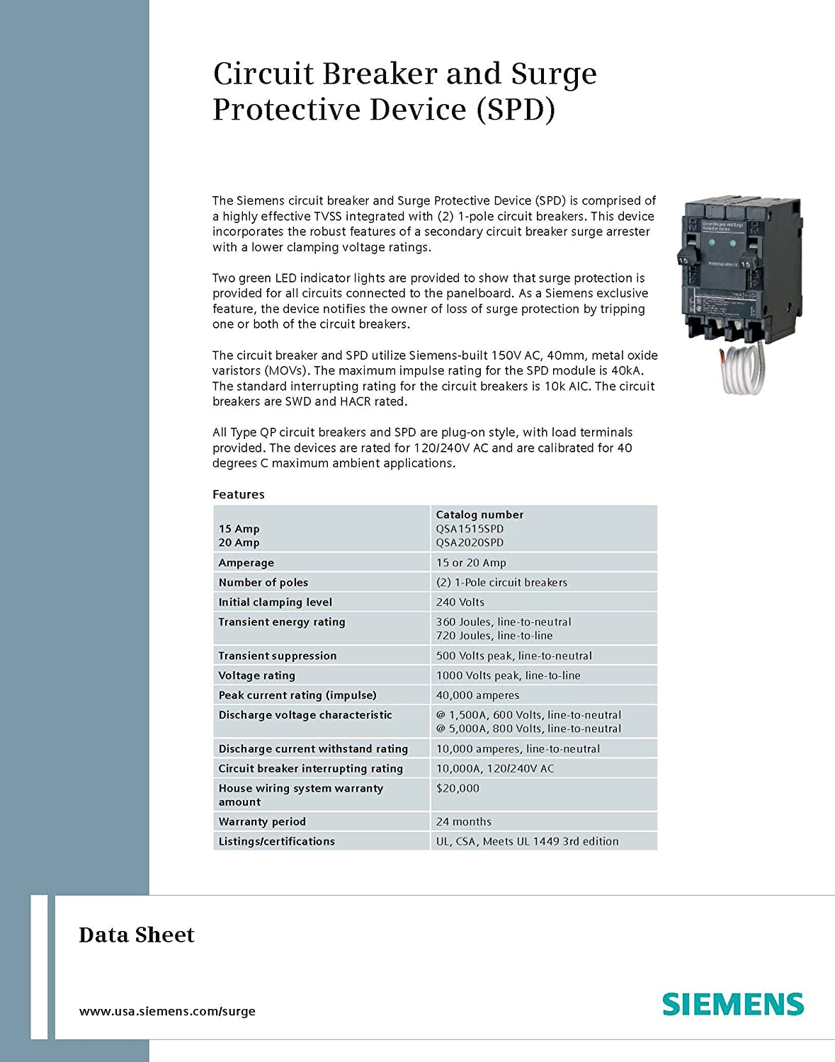 Siemens Qsa2020spd Whole House Surge Protection With Two 20 Amp Types Of Wiring Pdf Circuit Breakers For Use Only On Panels Main Breaker