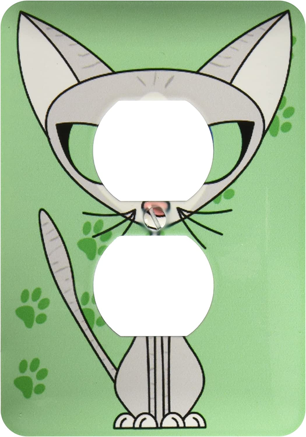 3drose Lsp 6301 6 Fancy Feline Grey Cat Design Light Green 2 Plug Outlet Cover Multicolor Outlet Plates