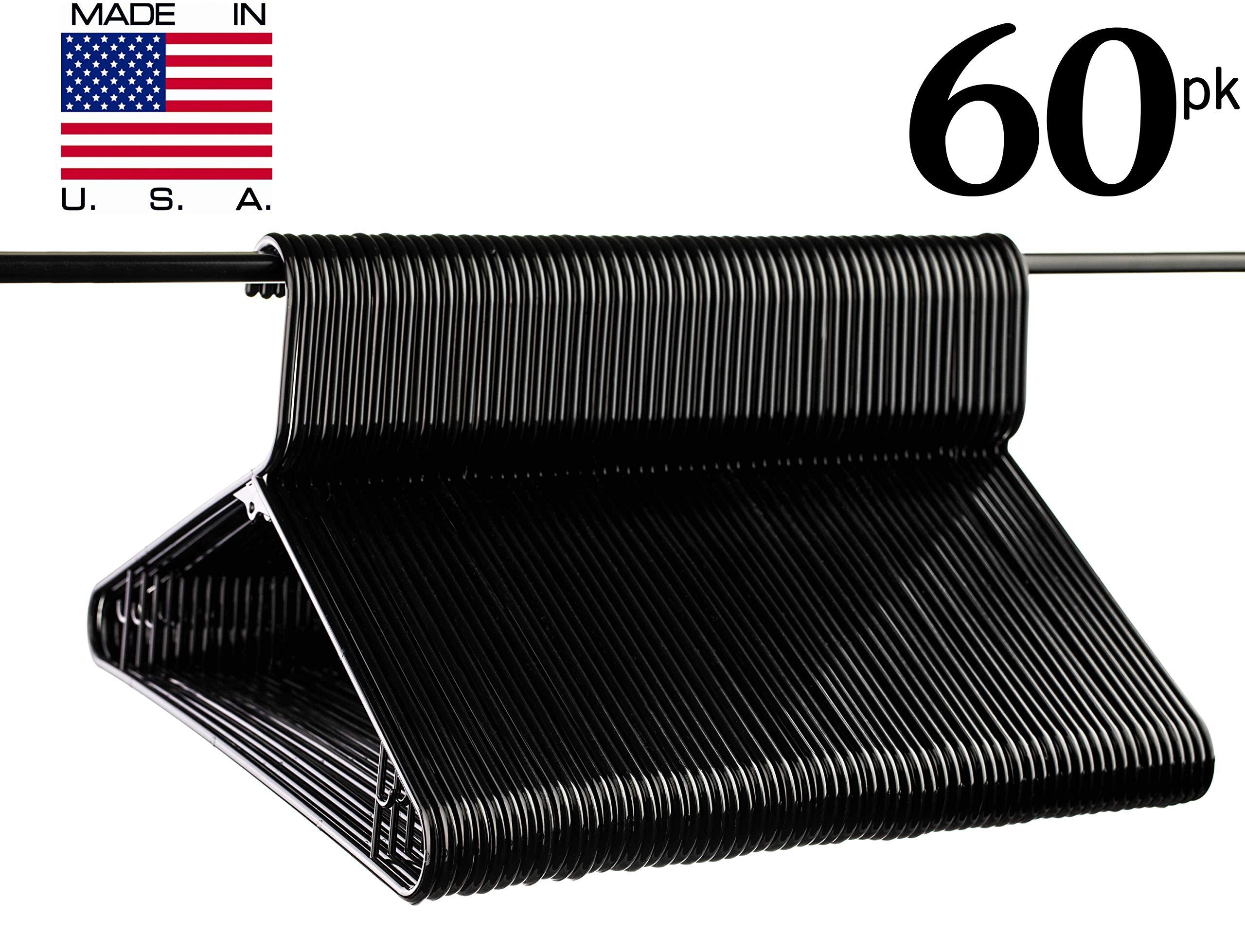 Neaties USA Made Black Plastic Hangers with Bar Hooks, 60pk