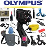 Olympus Stylus Tough TG-Tracker Wifi Action Camera (Black) + Sony 64GB MicroSDXC Card + Floating Strap + Flexpod + Case + Travel Charger + Battery + Suction Mount + Bike Mount + Selfie