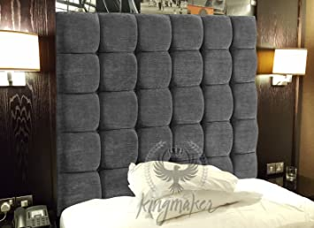 TrendMakers 5FT Luxury Wall Mounted Cube CHENILLE Headboards Bespoke  Headboard Bedroom Furniture 3 Heights Numerous Colour Range Charcoal Grey  ...