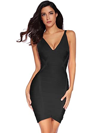 0802668d4 Meilun Women s Rayon Thick Stretch V-Neck Bandage Bodycon Dress X-Small  Black
