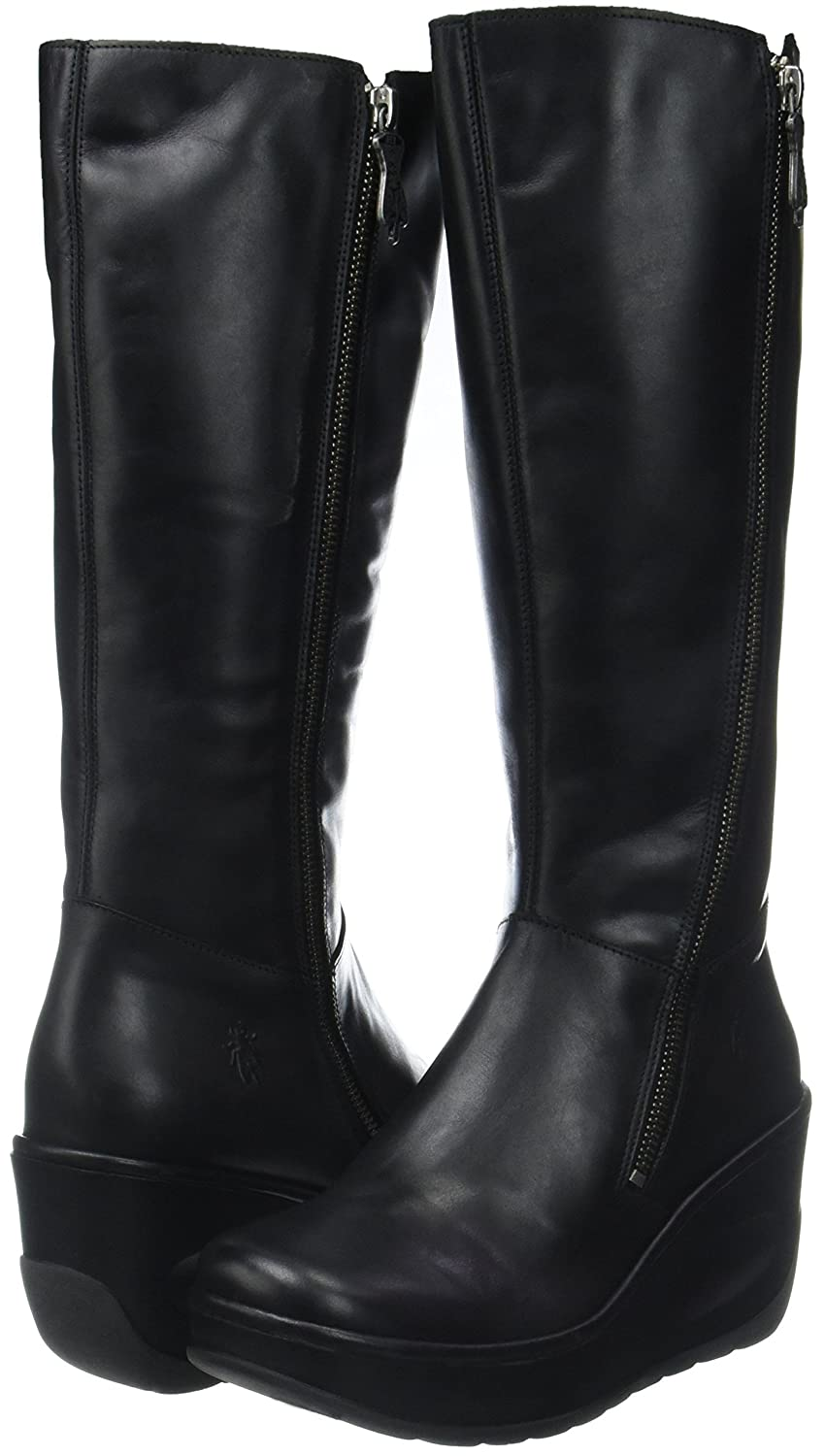 Fly London JATE917FLY Leather Zip-Up Knee-Length Wedge Womens Boots