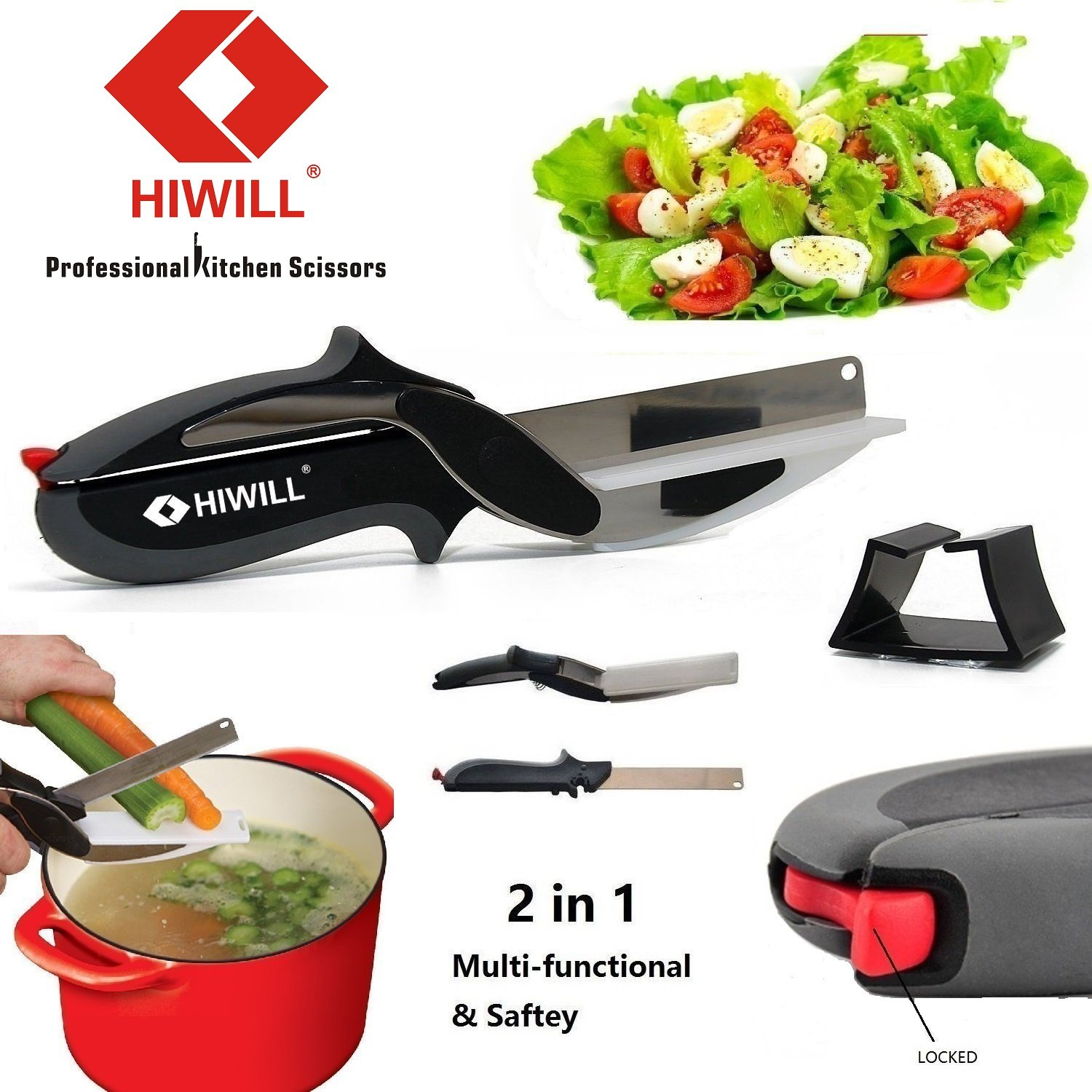 Hiwill 2-in-1 Knife & Cutting Board Kitchen Scissors – Stainless Steel Cutter for Vegetable & Meat HW