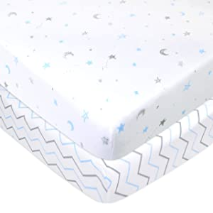 American Baby Company 2 Pack Printed 100% Natural Cotton Jersey Knit Fitted Pack N Play Playard Sheet,Blue Stars/Zigzag, Soft Breathable, for Boys and Girls