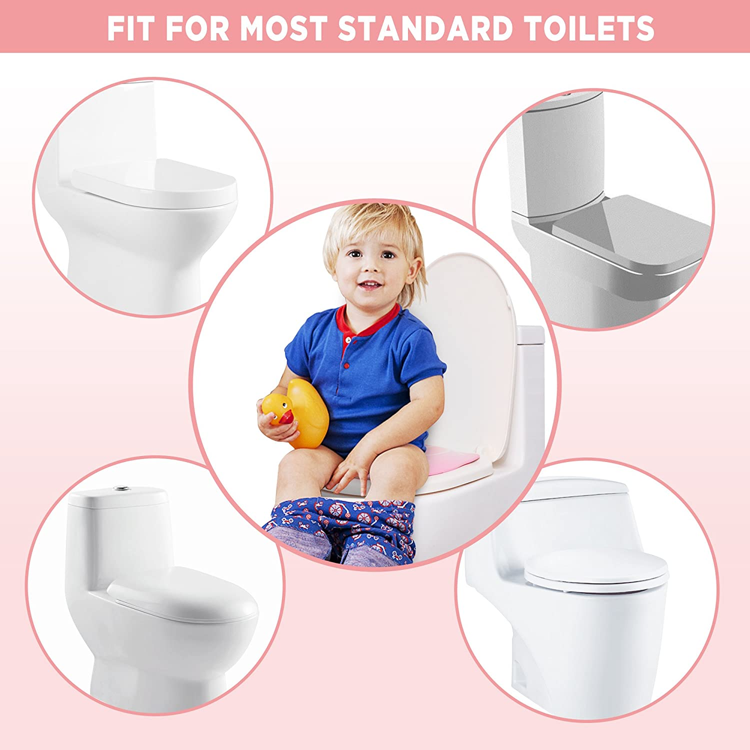 Pink Toddlers and Kids Firares Upgrade Folding Large Non Slip Silicone Pads Travel Portable Reusable Toilet Potty Training Seat Covers Liners with Carry Bag for Babies