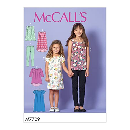 7691983c87fb27 McCall's Patterns 7709 CCE,Child/Girls Tops,Dresses and Leggings,Sizes 3-6,  Tissue, Multi-Colour, 17 x 0.5 x 0.07 cm: Amazon.co.uk: Kitchen & Home