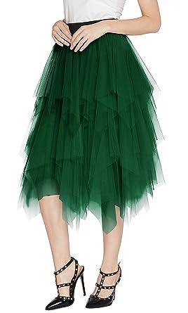 15320cf8f1025e Urban CoCo Women's Sheer Tutu Skirt Tulle Mesh Layered Midi Skirt (S, Dark  Green
