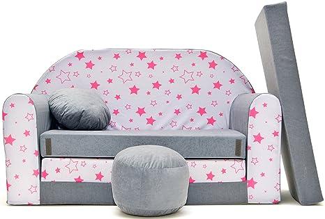 Divano divanetto bambini e cuscino e puff mini divano transformabile