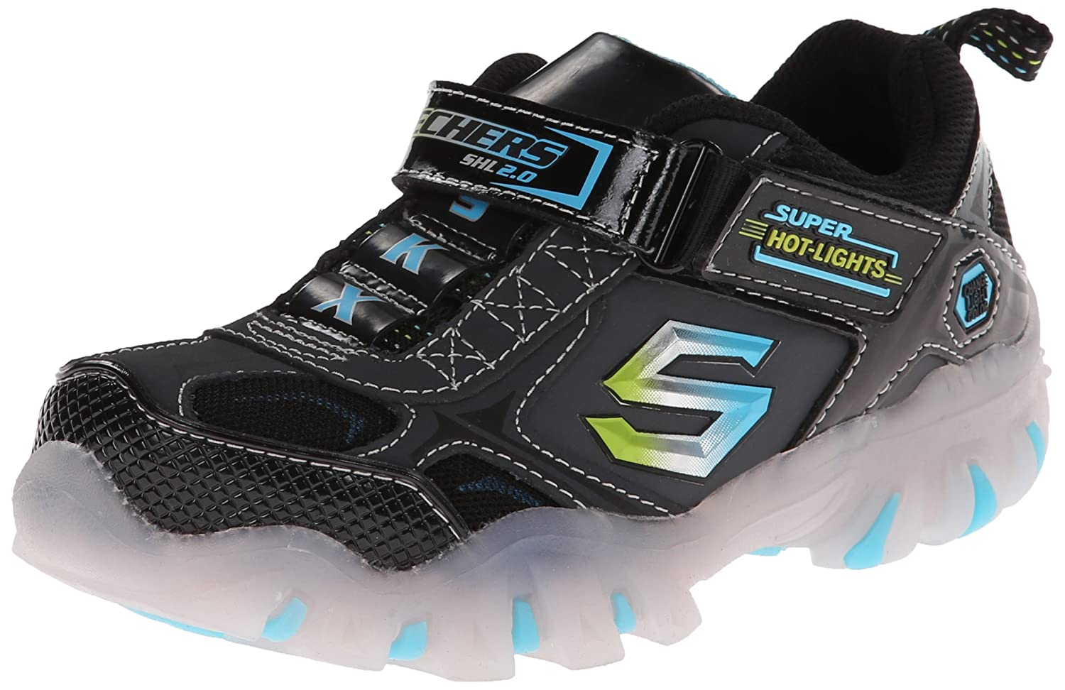 Skechers Kids 90475L Shiftz Light-Up Sneaker (Little Kid) Black/Charcoal 11 M US Little Kid
