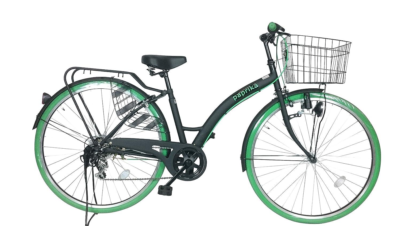 自転車 27インチ シティ車 外装6段ギア おしゃれなカラータイヤ paprika パプリカ シティサイクル グリーン 緑 B07CTFZP44