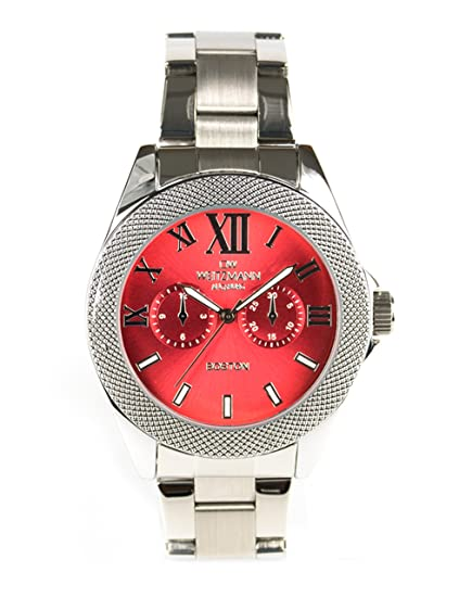 OW weitz Muñeco de hombre reloj de pulsera Boston, esfera roja, correa de acero