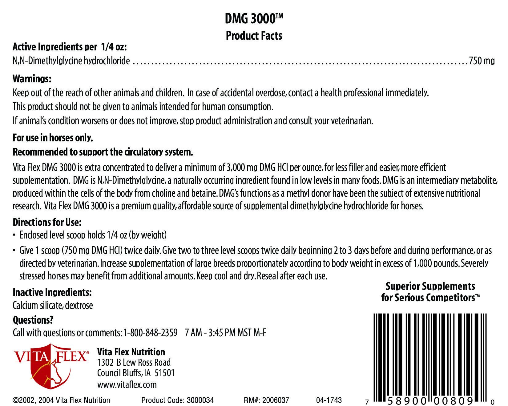 Vita Flex DMG 3000 Concentrate, 128 Day Supply, 4 lbs 3