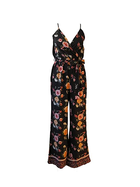 05e47a961ba Womens Wide Leg Black Floral Jumpsuit with Thin Straps and Belted at Waist  (Medium)